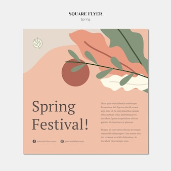 Leaves and sun spring square flyer template