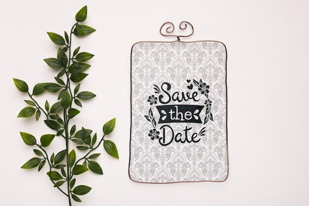 Листья с винтажом сохраняют макет даты