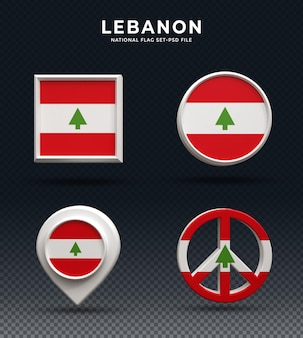 Флаг ливана 3d-рендеринга кнопка купола и на глянцевой основе