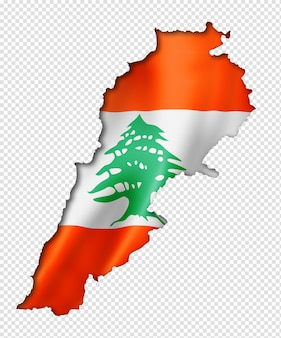 Lebanon flag map, three dimensional render, isolated on white