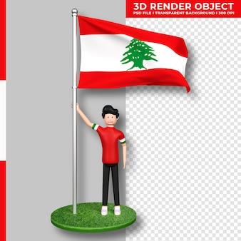 かわいい人々の漫画のキャラクターとレバノンの旗。独立記念日。 3dレンダリング。