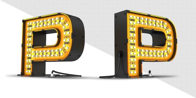 Led 알파벳 빛 3d 렌더링, psd 파일.