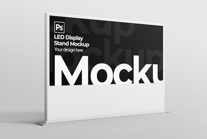 Led display stand mockup for branding and advertising presentations