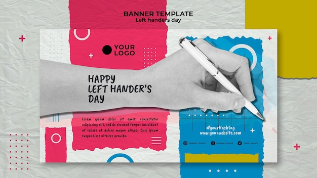 Left handers day concept banner template