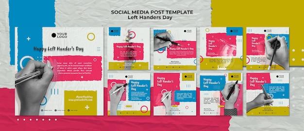 Left handers day concept social media post template