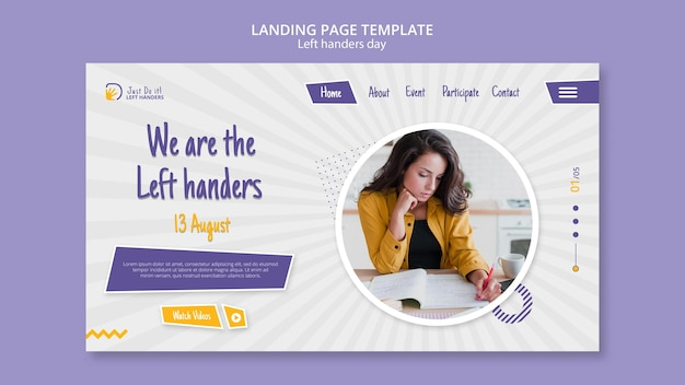 Left handers day landing page design