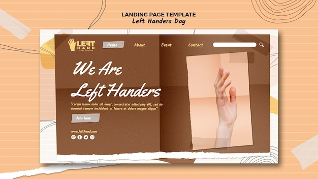 Left handers day landing page theme