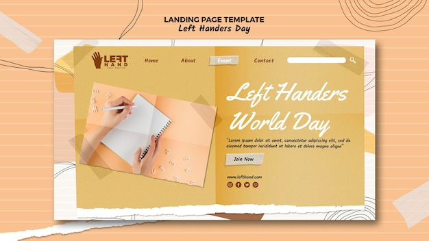 Left handers day landing page