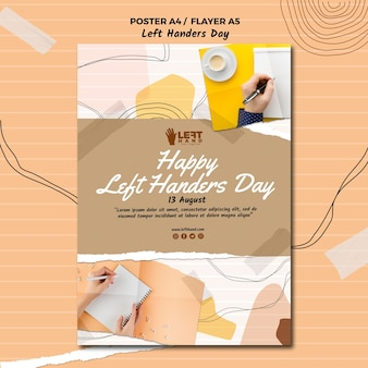 Left handers day poster template theme