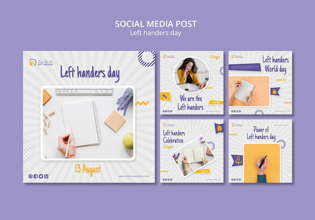 Left handers day social media post