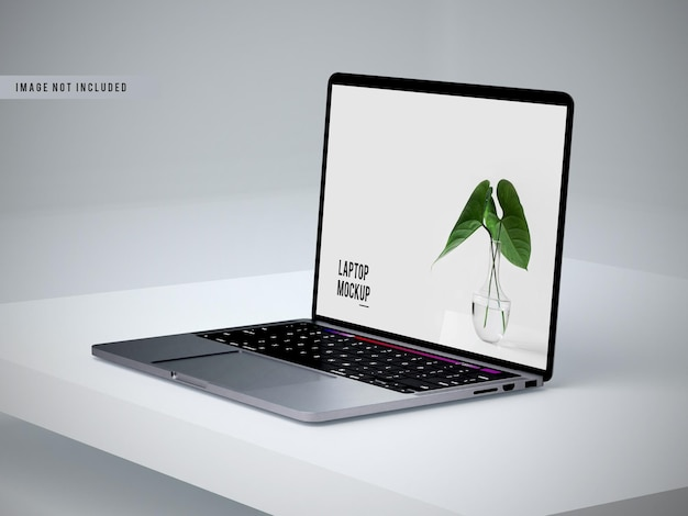 Left view of laptop mockup design