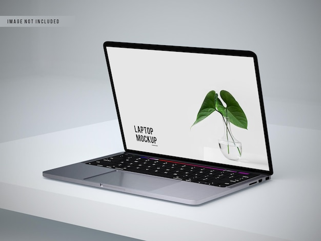 Left view of laptop mockup design Premium Psd