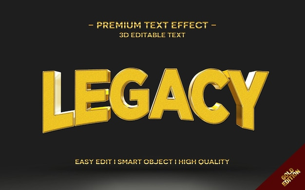 Legacy 3d gold text style effect template