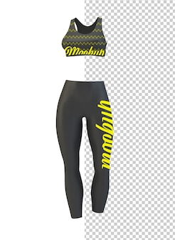 Leggings and bra isolated mock up