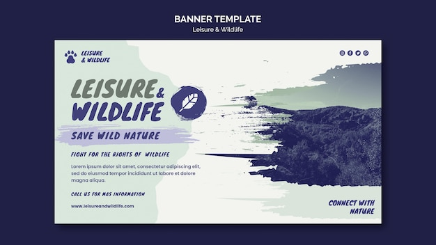 Шаблон баннера для отдыха и дикой природы