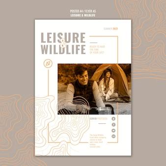 Шаблон плаката для отдыха и дикой природы