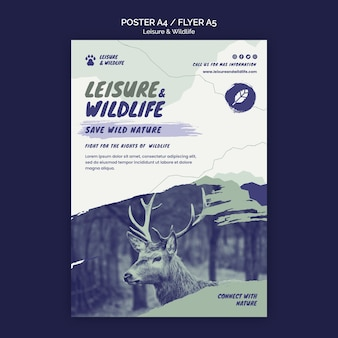 レジャーと野生生物のポスターテンプレート