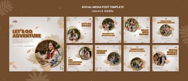 레저 및 야생 동물 소셜 미디어 게시물 템플릿 프리미엄 PSD 파일