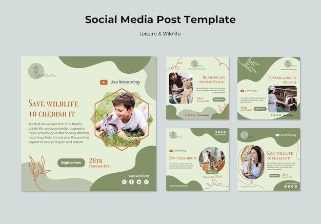 레저 및 야생 동물 소셜 미디어 게시물 무료 PSD 파일