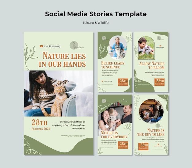 레저 및 야생 동물 소셜 미디어 스토리 프리미엄 PSD 파일