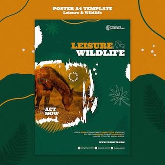 레저 및 야생 동물 세로 인쇄 템플릿 무료 PSD 파일