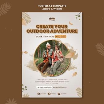 Poster a4 per il tempo libero e la fauna selvatica