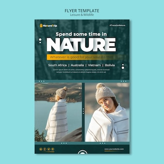 Leisure and wildlife flyer template