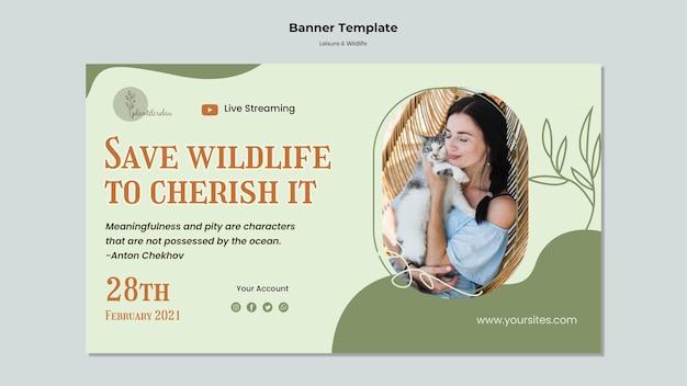 Modello di banner orizzontale per il tempo libero e la fauna selvatica Psd Gratuite