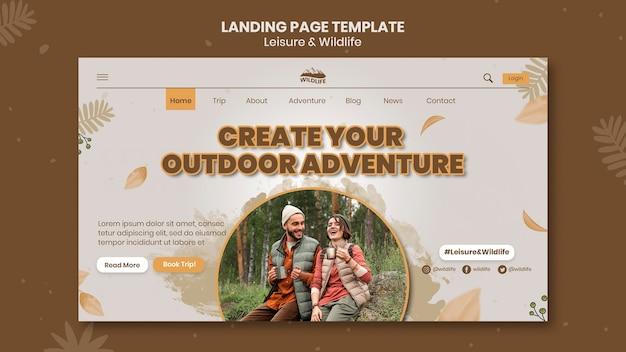 Modello di pagina di destinazione per il tempo libero e la fauna selvatica