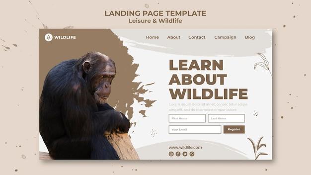 Pagina di destinazione per il tempo libero e la fauna selvatica