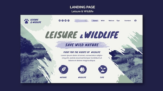 Leisure and wildlife landing page