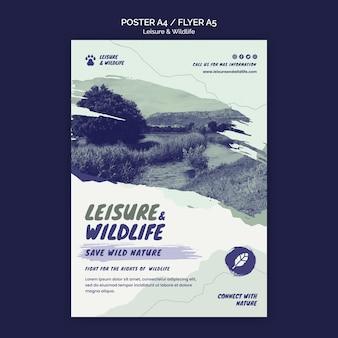 Modello di poster per il tempo libero e la fauna selvatica