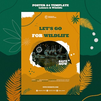 Leisure and wildlife vertical print template