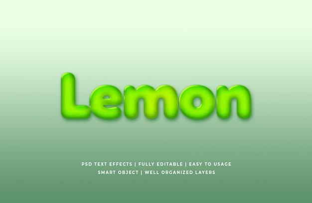 레몬 3d 텍스트 스타일 효과 프리미엄 psd