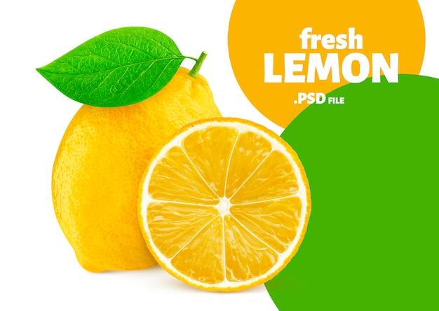 白い背景で隔離のレモンフルーツ