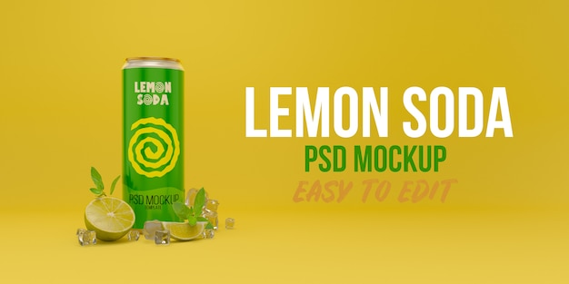 Lemon soda can mockup with mint