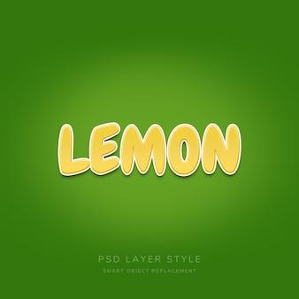 Лимонный текстовый эффект с текстурой