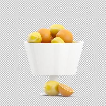 Lemons and oranges 3d render