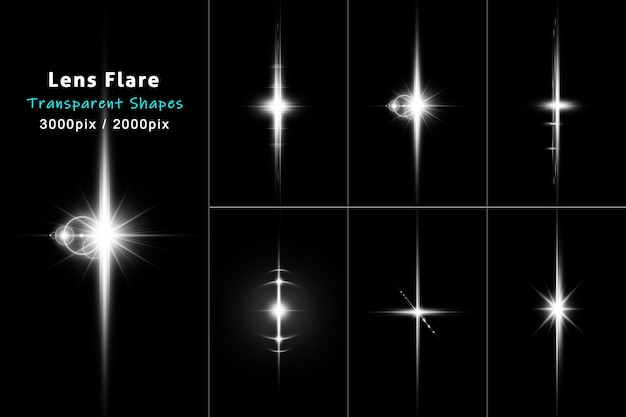 Lens flare dividers collection in white color pack