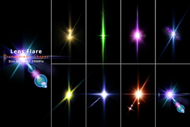 Lens flares and light realistic set isolate set Premium Psd