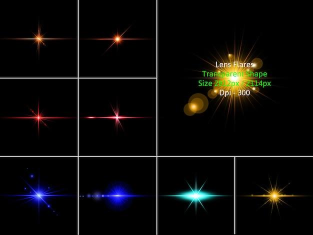 Lens flares pack in 3d rendering