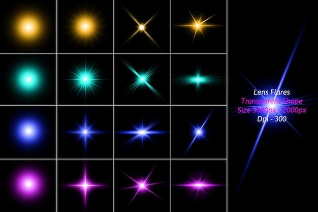 Пакет lens flares в изолированном рендеринге