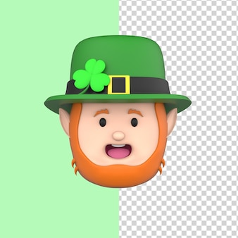 Leprechaun in hat happy st patricks day 3d render model