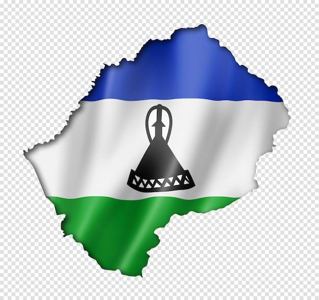 레소토 국기지도, 3 차원 렌더링, 흰색 절연