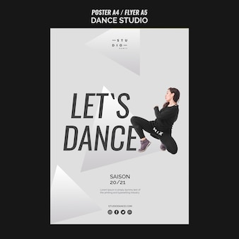 Let's dance studio dance poster template