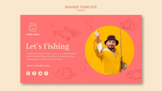 Let's fishing banner web template