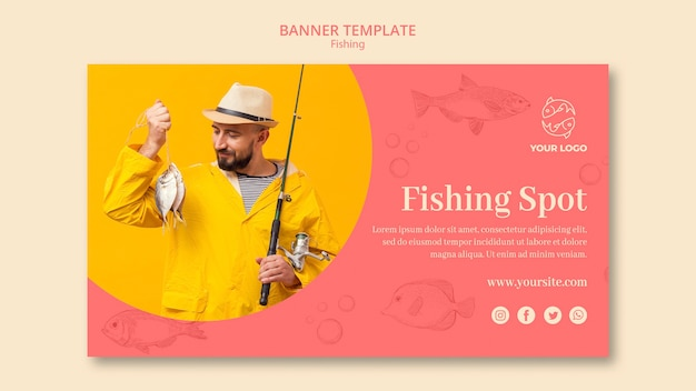 Let's go fishing banner template