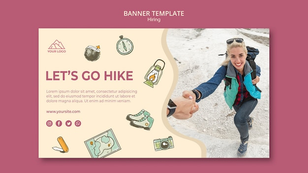 Let's go hiking banner template