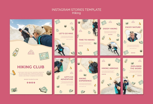 Let's go hiking instagram stories template