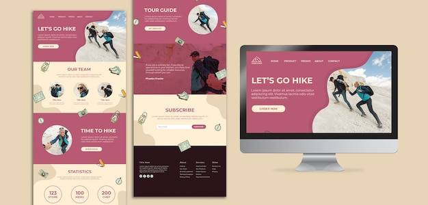 Let's go hiking landing page and screen